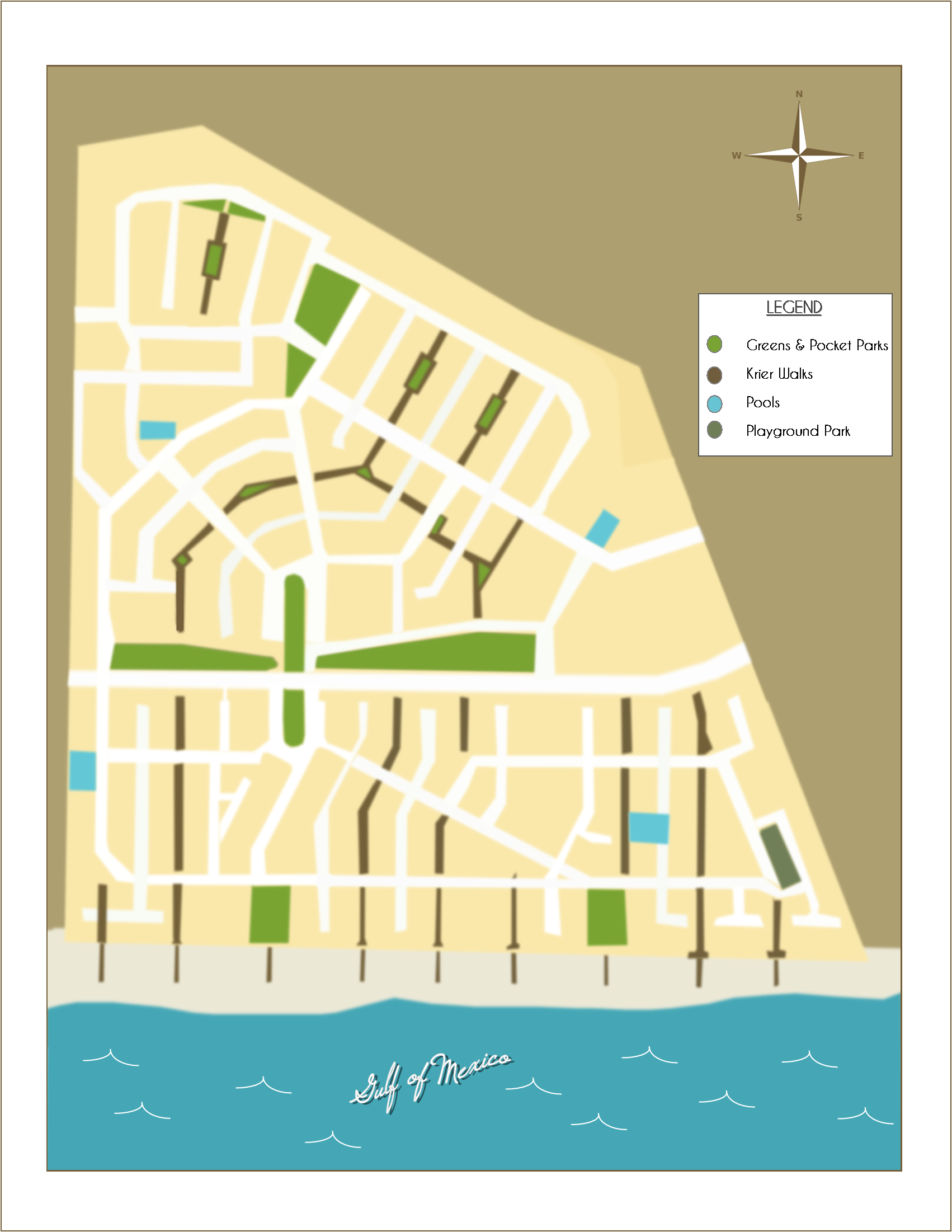 map of Rosemary Beach, FL boardwalks, parks & green spaces