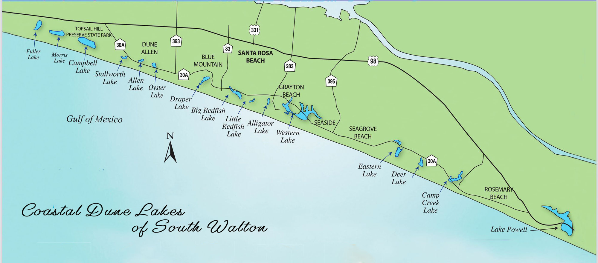 30A Coastal Dune Lake Locator Map